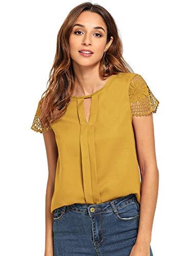 Floerns Women's Short Sleeve Lace Keyhole Summer Chiffon Blouse Top Ginger S (Skirt Lace Chiffon)