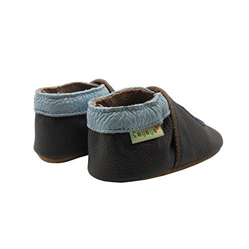Sayoyo Suaves Zapatos De Cuero Del Bebé Zapatillas Coche Negro