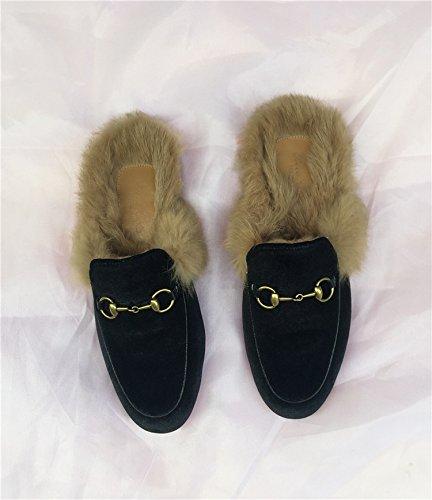 Caduta fankou piatto scarpe donna pigri con bassa ,40, nero pantofole.