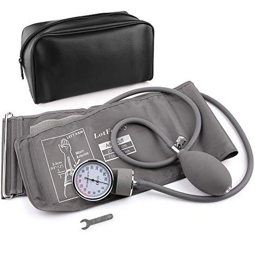 Aneroid Sphygmomanometer, LotFancy Blood Pressure Gauge with Manual Blood Pressure Cuff for Adults, Carrying Case and Calibrator Included