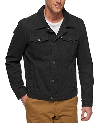 Black Harrington Jacket - Levi's Men's Cotton Canvas Laydown Trucker Jacket, Black, X-Large