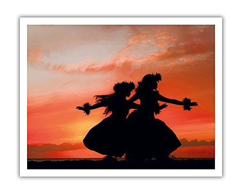 (Pacifica Island Art Hula Sisters - Young Hawaiian Dancers at Sunset - From an Original Color Photograph by Randy Jay Braun - Hawaiian Fine Art Print - 11in x 14in)