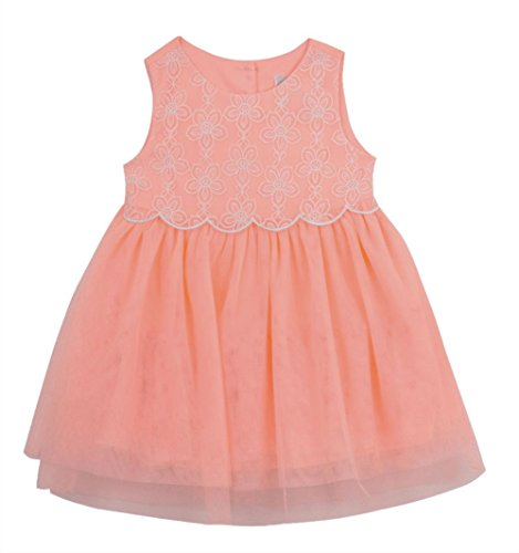 - Rare Editions Girls' Embroidered Popover Mesh Dress, Neon Coral (4T)
