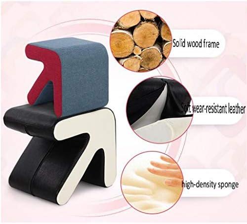 CHHD Chaise de Bureau, Chaise Or Bois Massif flèche Tabouret Chaussures Chaussures Cuir canapé Tabouret (Taille: 40 * 36 * 40 cm)