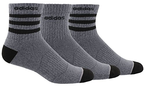 - adidas Men's 3-Stripe High Quarter Socks (3-Pack), Dark Grey, Size 6-12