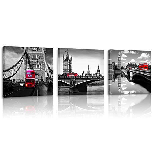 Natural art Black and White Cityscape Wall Art Painting Red Bus on The Bridge Posters and Prints Framed for Kitchen Office Bar Wall Decor - Cityscape Red