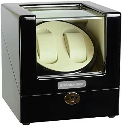Steinhausen Heritage SW1902 Double Watch Winder With Ultra Quiet Motor and Multiple Modes (Onyx)