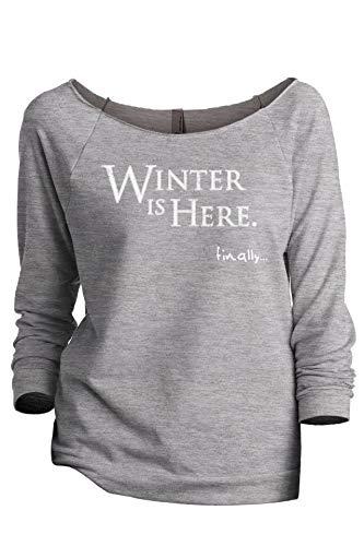 (Winter is Here Game of Thrones Inspired Women's Fashion Slouchy 3/4 Sleeves Raglan Sweatshirt Sport Grey Small)