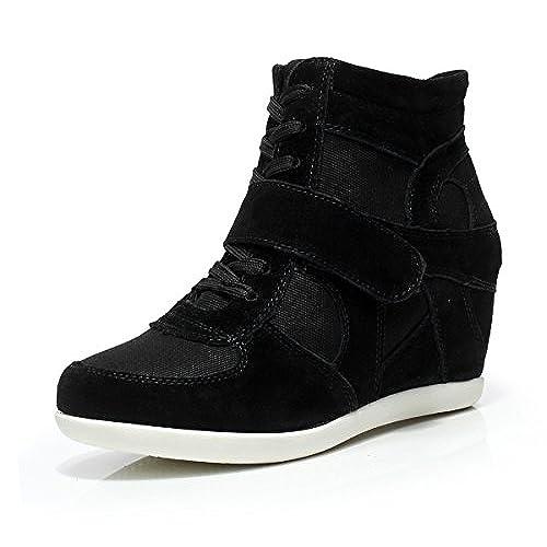 Shenn Mujer Zapatos Invierno Cálido Plataforma Con La Piel Tacón Cuña Gamuza Zapatillas De Moda (Negro,EU35.5)