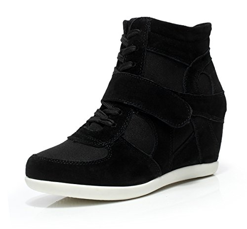 Lace Women Sneakers Lightweight E2Black rismart High Elevator Wedge Up Heel Fashion Shoes HEUdRqxw