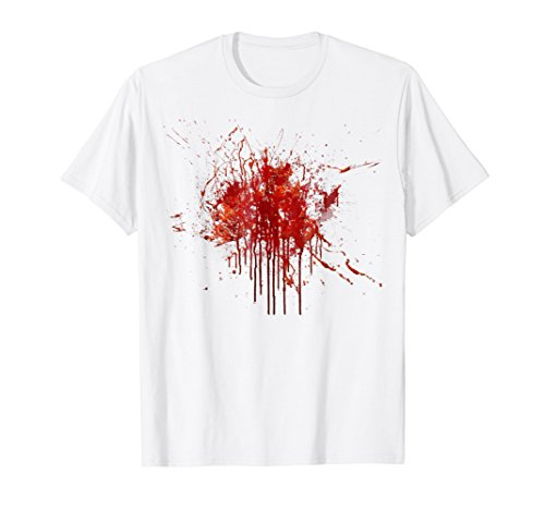 Mens Happy Halloween Blood Splatter Tshirt Costume - Gag Gift Tee Medium White