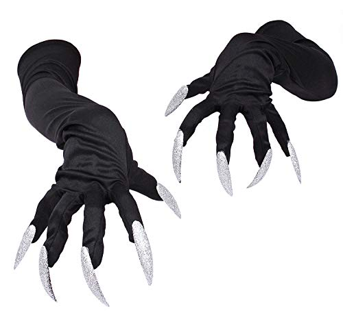 QinMi Lover Halloween Costume Gloves with Nails Fingernails Gloves Claws,Nails style