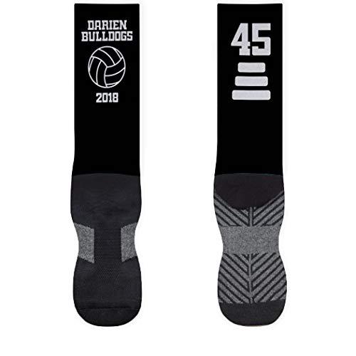 Volleyball Mid-Calf Socks | Custom Team Name & Number | Black/White | LG