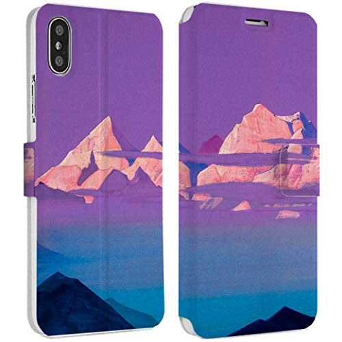 Wonder Wild Pink Mountains iPhone Wallet Case X/Xs Xs Max Xr 7/8 Plus 6/6s Plus Card Holder Accessories Smart Flip Hard Design Protection Cover Nature Environment Peak Mountain Climber Rock Cloud