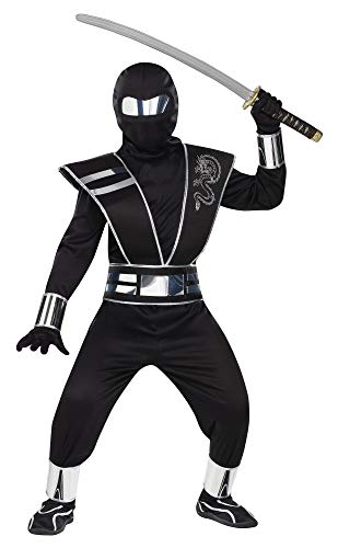 Fun World Mirror Ninja Silver Costume, Medium