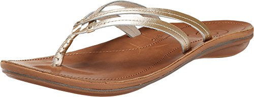 OLUKAI U'I Sandal - Women's Bubbly/Sahara 5 (Grain Top Leather Antiqued)