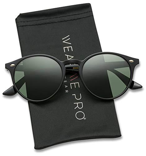 WearMe Pro Classic Small Round Retro Sunglasses, Black Frame/Green ()