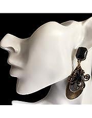 IKBEN Earrings for women, Bronze chandelier dangle with black gemstone earrings