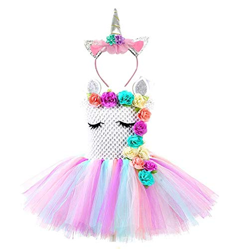 Baby Girls Unicorn Dress Costumes Christmas Tutus with Flower -