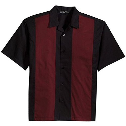 Clothe Co. Mens Retro Bowling Camp Shirt, Black/Burgundy, XL