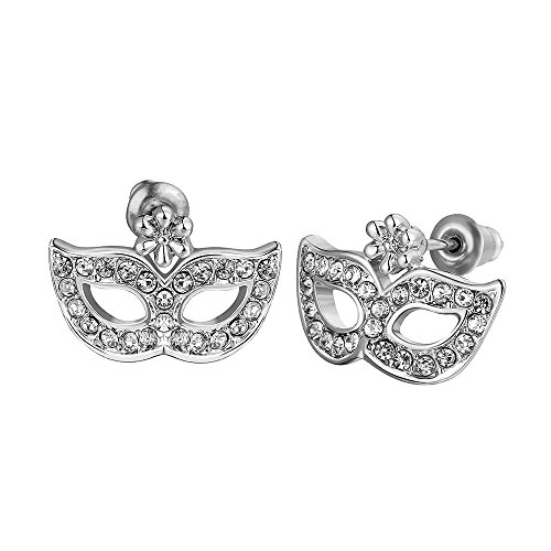 Jewelry Shades (Rose Gold Plated Earrings Zirconia Push Back Mask Fifty Shades Of Grey .68