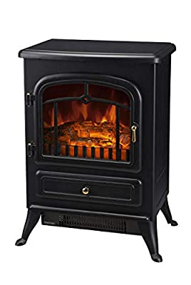 Alitop 750/1500W Electric Fireplace Freestanding Fire Flame Stove Heater Adjustable Black