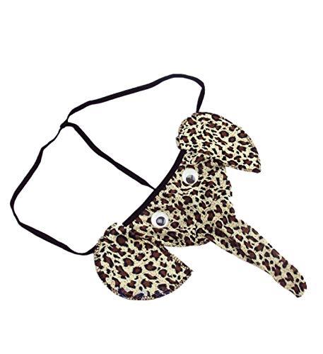 Funny Men's T-Back, PASATO Hot Cartoon Sexy Elephant Pattern Thong Underwear (One Size, Leopard Print)