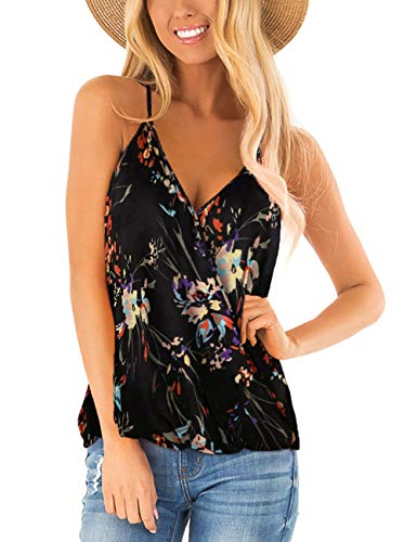 Floral Boho Tops for Womens V Neck Wrap Tshirt Flowy Halter Tank Summer Sleeveless Shirts Black