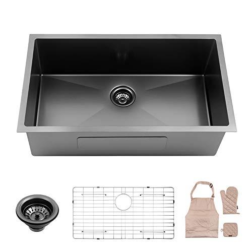 Lordear Black 32 Inch Stainless Steel Kitchen Sink 16 Gauge 10 Inch Deep Drop In Single Undermount Single Bowl Sink