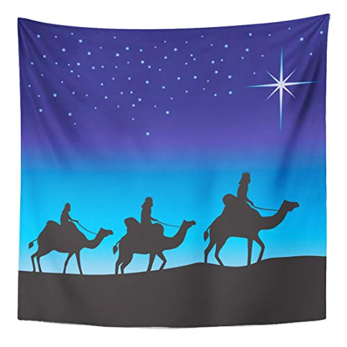 Semtomn Tapestry Wall Hanging Home Art Blue Three Wise Men Silhouette on Camels Following The 50