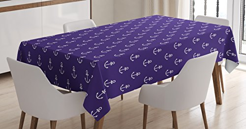Marine Tablecloth by Ambesonne, Sealife Ocean Yacht Design Vector Anchor Decorative Pattern Artwork Image, Dining Room Kitchen Rectangular Table Cover, 60 X 90 Inches, Dark Purple White
