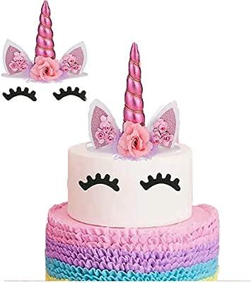 Enjoyable Unicorn Cake Topper Handmade Flowers Unicorn Horn Ears Happy Personalised Birthday Cards Paralily Jamesorg