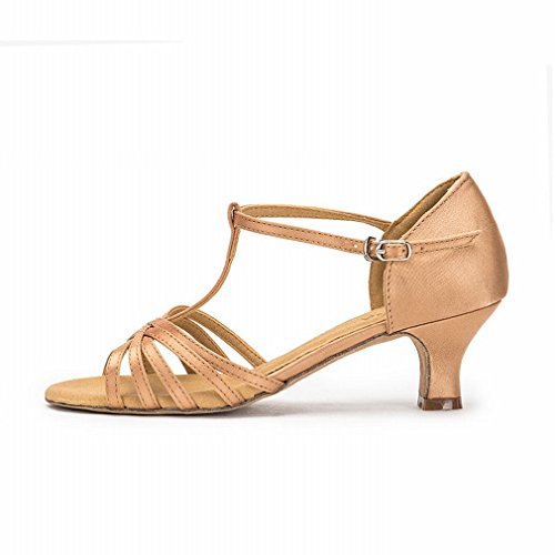 Shoes Satin Bottom 2CM 5 Jazz Latin Gold Shoes Samba Dance Sandals Dance Strap Adult Female Modern BYLE Shoes Dance with Ankle Onecolor Leather Soft BqpHwHZP