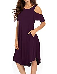 womens cold shoulder midi dress short sleeve swing dress with pockets - Maternity Christmas Dress
