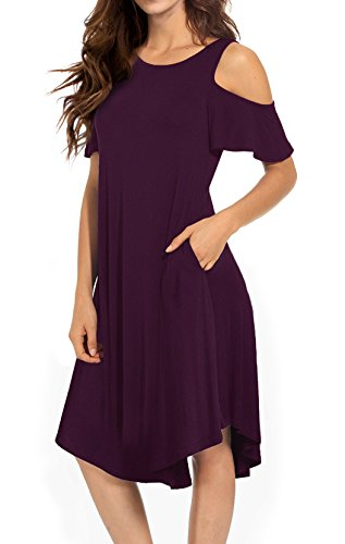 VERABENDI Women's Casual Cold Shoulder Midi Dress Short Sleeve Swing Dress with Pockets Mulberry Large by VERABENDI
