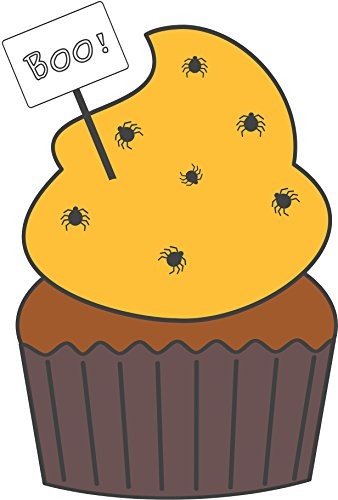 Scary Halloween Muffin Cupcake With Spider Sprinkles Cartoon Vinyl Decal Sticker (8