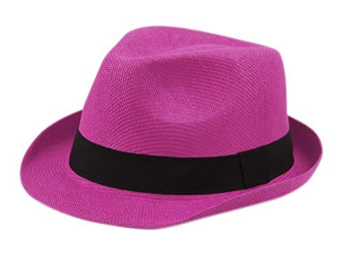 Epoch Unisex Basic Cool Lightweight Summer Derby Fedora Trilby Adjustable Hat (HOT Pink)]()