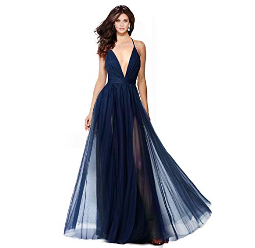 Alluring deep v-Neckline Spaghetti Straps Criss-Cross Open Back Tulle Dual Front Slits Evening Prom Formal Dress Navy (Strappy Prom Gowns)