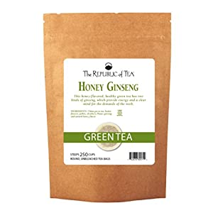 The Republic Of Tea Honey Ginseng Green Tea, 250 Tea Bags, Relaxing Chinese Green Tea Gourmet Blend