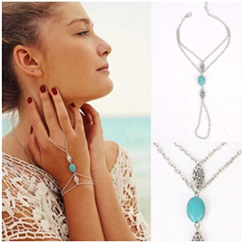 (Olbye Turquoise Finger Ring Bracelet Dainty Silver Flower Harness Bangle Chain Everyday Bracelet Jewelry Gift for Women and Girls)