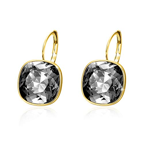 Xuping Halloween Gorgeous Fashion Crystals from Swarovski Huggies Hoop Earrings Women Girl Party Jewelry Gifts (14K+Crystal Silver -