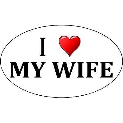 Rogue River Tactical I Love My Wife Sticker Husband Heart Oval 5x3 Car Truck Window Decal Bumper Sticker: Automotive