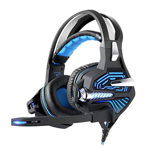 RYRYBH USB Light Gaming Headset, 7.1 Surround Sound, Tough PP Engineering Material Head Beam +304 Brushed Stainless Steel Headset (Color : Black Blue, Edition : Ordinary) ()