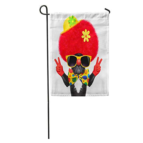 Semtomn Garden Flag Colorful Silly Dog Wearing Clown Costume Peace Victory Fingers Red Home Yard House Decor Barnner Outdoor Stand 28x40 Inches Flag
