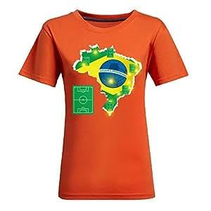 Brasil 2014 FIFA World Cup Theme Short Sleeve T-shirt,Football Background Womens Cotton shirts for Fans Orange