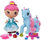 Little Unicorn Pony Doll, Doll Hair Accessories Set Includes Mini Pony Doll Toy Glittery Eyes, Fairy Dress, Unicorn Pony Hair Styling Accessories - Hair Brush, Rubbers, Hair Beads Clips