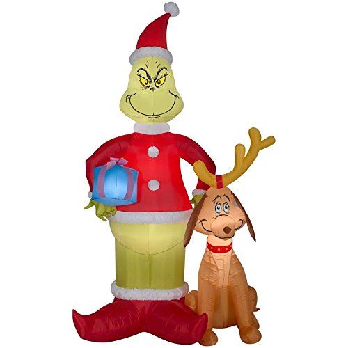 The Grinch and Max Inflatable - Santa Holiday Airblown Yard Decoration