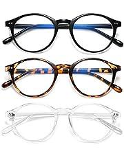 HILBALM 3 Pack Blue Light Blocking Glasses Women and Man Computer Eyeglasses Frame Glasses (3(Pack) Black Frame/Leopard Frame/Transparent Frame)
