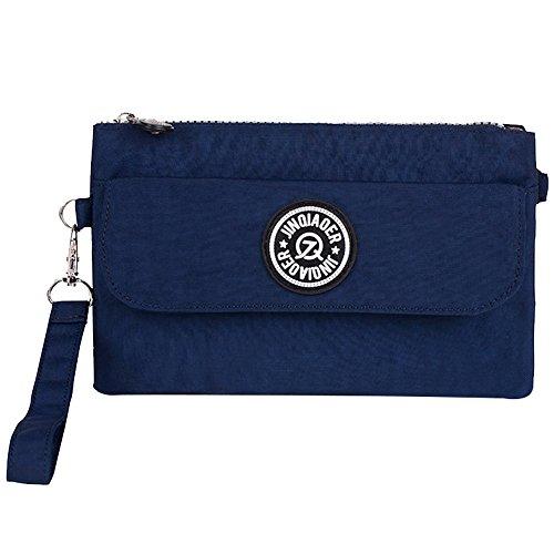Womens Bag Purse Clutch Wristlet Cell Phone Nylon Handbag blue Ladies Zipper Pouch Waterproof Navy Wocharm YqRdY