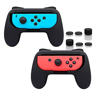 FASTSNAIL Grips Compatible with Nintendo Switch Joy-Con, Wear-resistant Handle Kit Compatible with Switch Joy Cons Controllers, 2 Pack (Black)